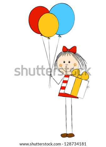 Girl with gift and balloons - stock vector