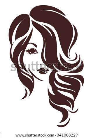 Girl with hair loose, vector logo design - stock vector