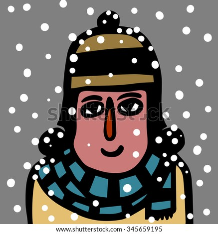 girl with hat and scarf in the snow - stock vector