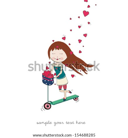 girl with heart - stock vector