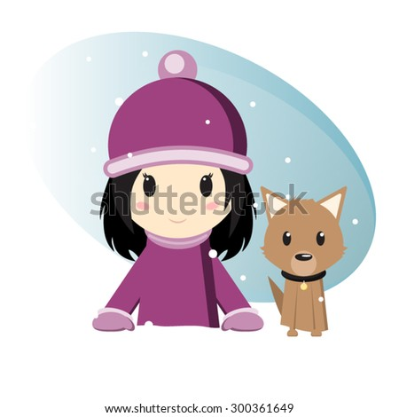 Girl with her dog in winter time - stock vector