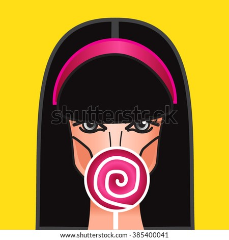 Girl with lollipop - stock vector
