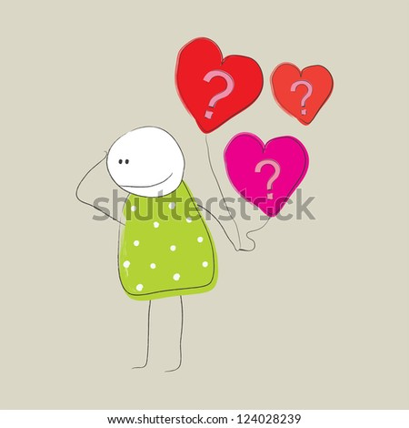 Girl with pink and red heart shaped balloons with question marks on it - stock vector