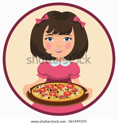 girl with pizza - stock vector