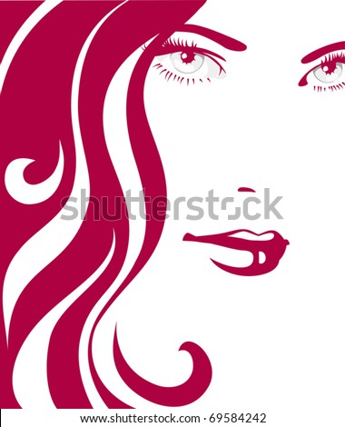 Girl with red hair - stock vector
