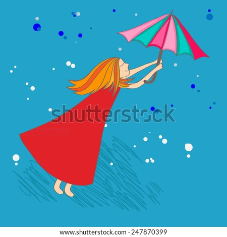 Girl with red hair and the color umbrella on a blue background