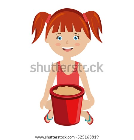 girl with sand bucket toy