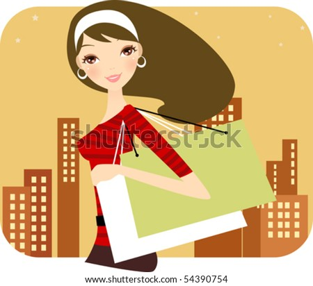 Girl  with shopping bags - stock vector