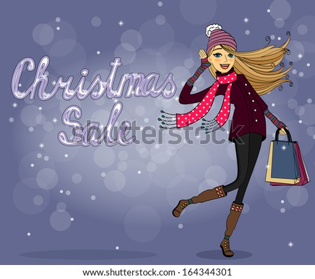 Girl with shopping bags at christmas sale vector illustration - stock vector