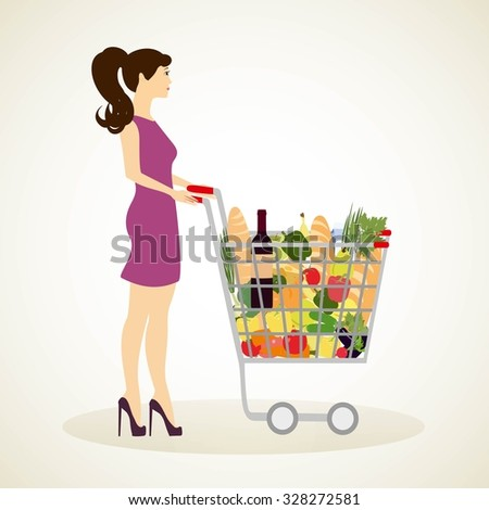 Girl with shopping cart full of groceries - vector illustrator isolated. Woman shopping groceries. - stock vector