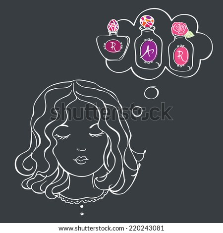 Girl with speech bubble with perfume. Drawing with chalk on a blackboard. Favorite perfume. Flower and rose water. Sketch. Vector illustration. - stock vector