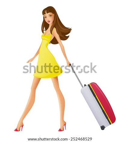 Girl with trabel bag. Vector illustration. - stock vector