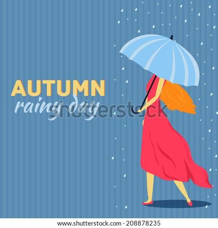 Girl with umbrella in a autumn raining day bacground concept. Vector illustration design - stock vector