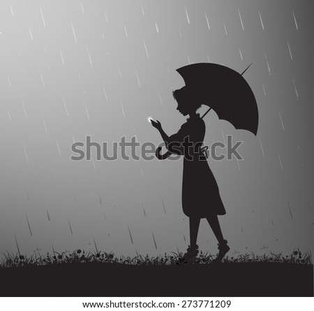 girl with umbrella touching the glowworm, summer rain, sweet memories, childhood, vector,