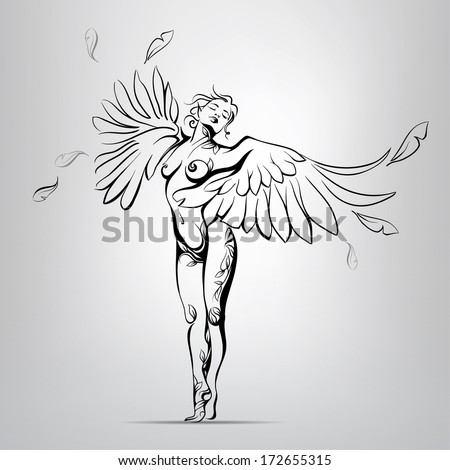 Girl with wings instead of hands. vector illustration - stock vector