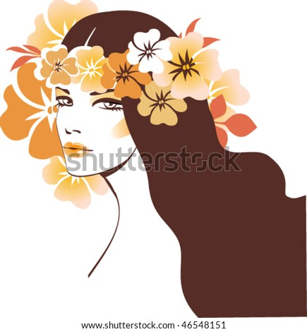 Girl with wreath - stock vector