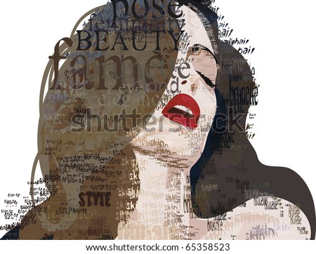 girl woman beauty pose model - stock vector