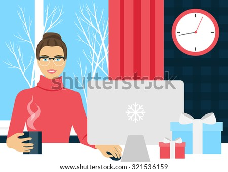 Girl working at a computer against the window, the window winter day. - stock vector