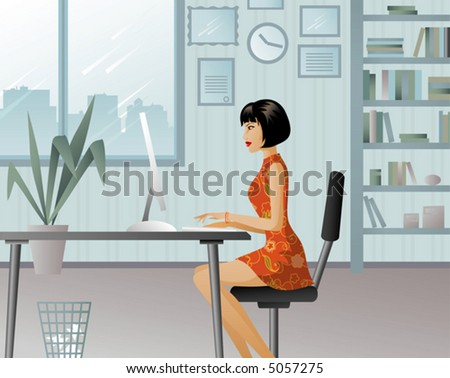 Girl working in a big office