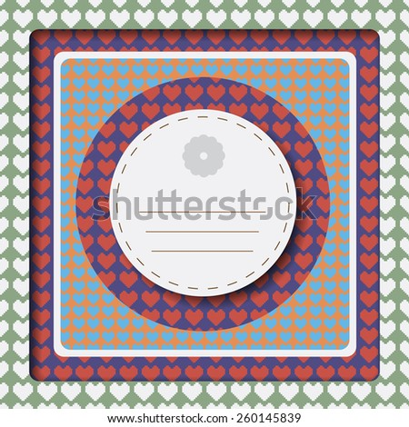 Girlish notebook cover with lots of hearts on lined backdrop of various colors. Digital background vector illustration. - stock vector