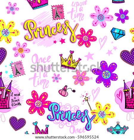 Girlish Wallpaper With Castle Cartoon Flowers Crown Hearts Brilliant Text Once