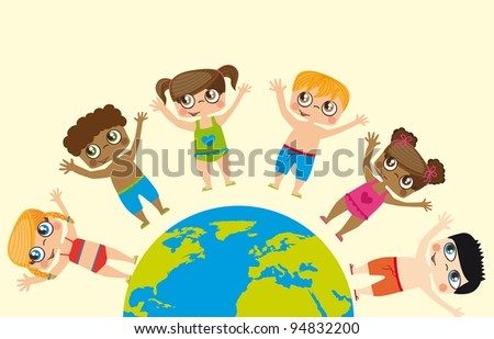 Girls and boys around the world, conceptual image vector - stock vector