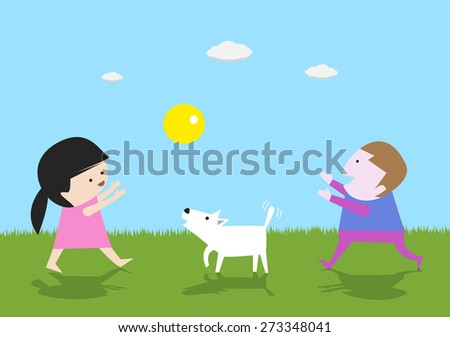 Girls and boys play ball with the white dog cutr illustration vector  backgrounds,kids playing - stock vector