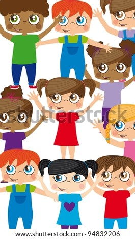 Girls and boys vector illustrations, childhood concept - stock vector