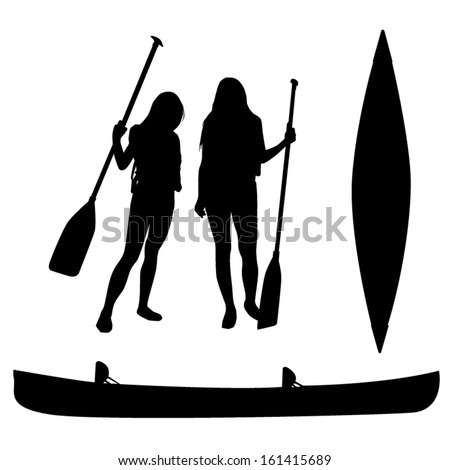 Girls and canoe silhouettes - stock vector