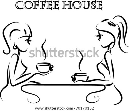 Girls are drinking coffee in a coffee shop, the background, vector - stock vector