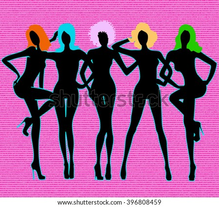Girls black silhouettes on pink