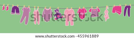 Girls' clothes and toys drying on the clothesline. Banner. - stock vector