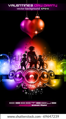 Girls Discoteque Event Flyer for Music Themed Flyers - stock vector