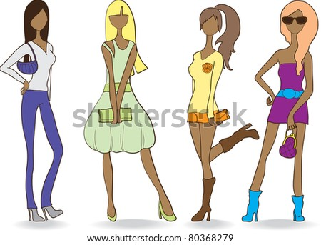 girls dressed in fashionable clothes - stock vector