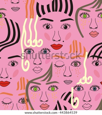 Girls faces with eyes, hairs, noise and lips pink, orange, blue, yellow, red, gray, and black a seamless pattern on a purple background. - stock vector