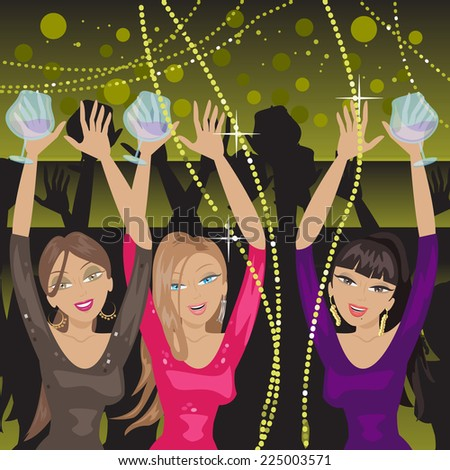 Girls Having Party At Nightclub - Vector Illustration, Graphic Design Editable For Your Design  - stock vector