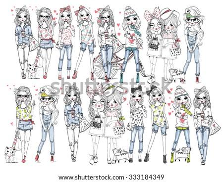 girls illustration set - stock vector
