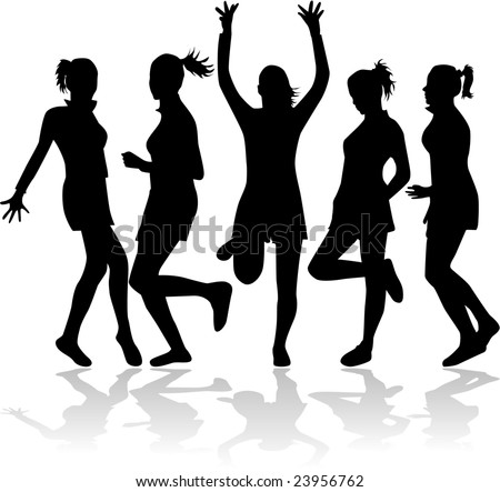 Girls in funny poses silhouette - vector work