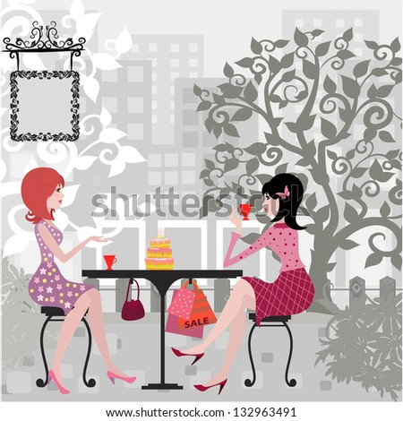Girls in the cafe - stock vector