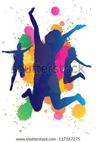 Girls jumping against a paint splatter background. - stock vector