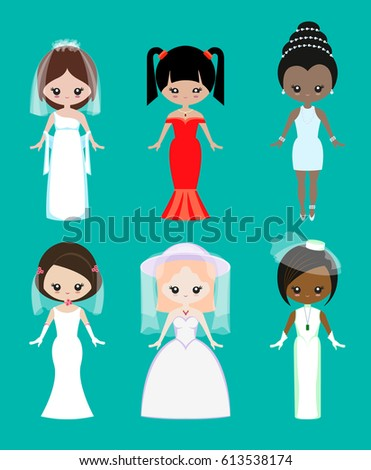 Girls Of Different Races In Wedding Dresses And Jewelry Types Vector