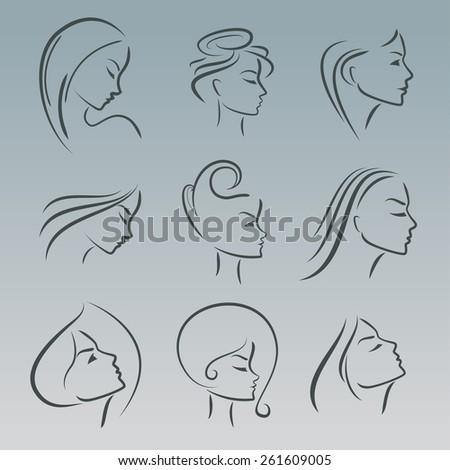 Girls portrait  - vector silhouette icon, monochrome - stock vector