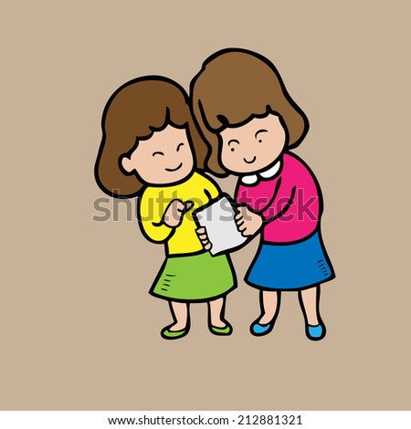 Girls read note together