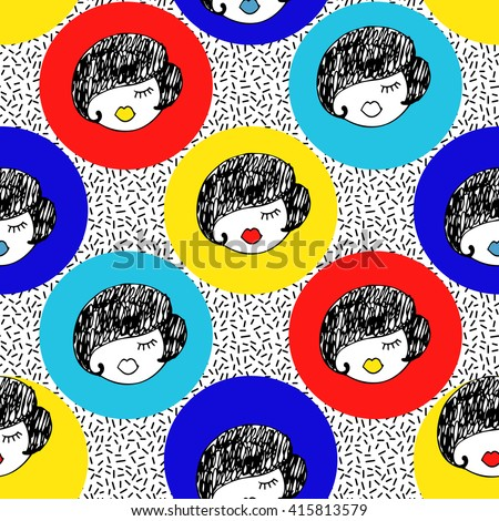Girls seamless pattern. Hand drawn girl faces texture. Cartoon retro design. Fashion illustration in 80s - 90s - stock vector
