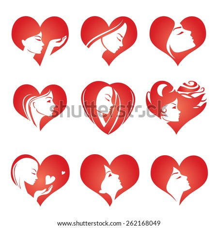 Girls silhouette in hearts, vector icons - stock vector