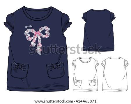 Girls T shirt templates / cute ribbon - stock vector