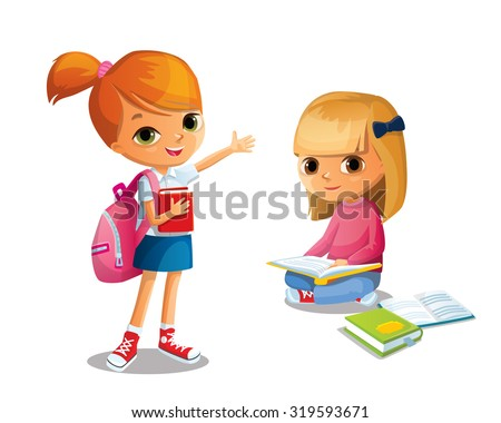 girls with school backpack and books