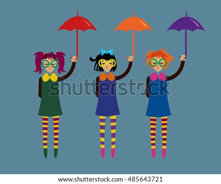 Girls with umbrellas, vector illustration