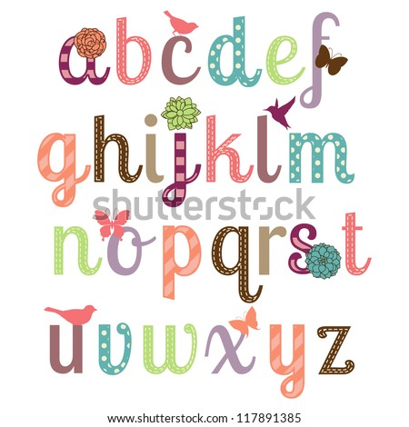 Girly Alphabet Vector Set - More Letters in Portfolio - stock vector