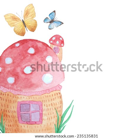 Girly background with magical house and butterfies. Fairytale mushroom house. Watercolor hand drawn baby illustration. Vector artwork - stock vector